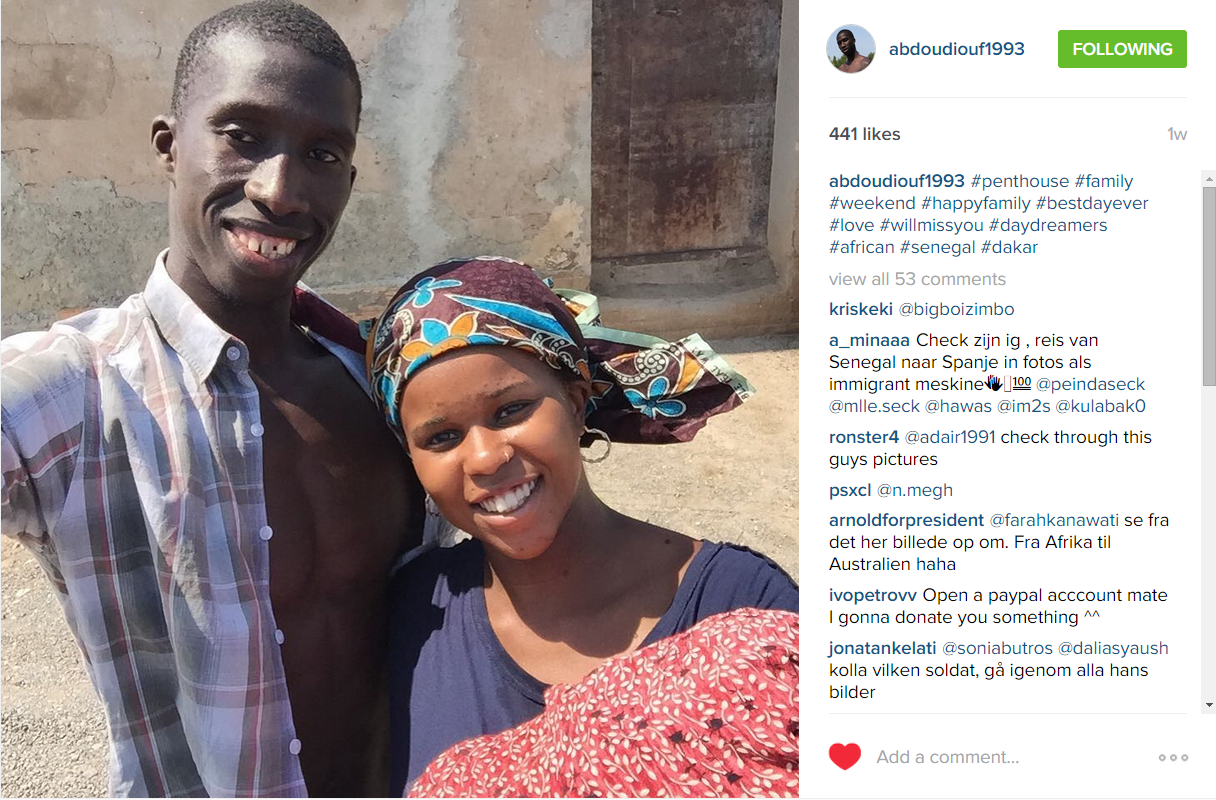 First photo shared by Abdou Diouf on July 21, which is described as showing him with family in Dakar before his journey.