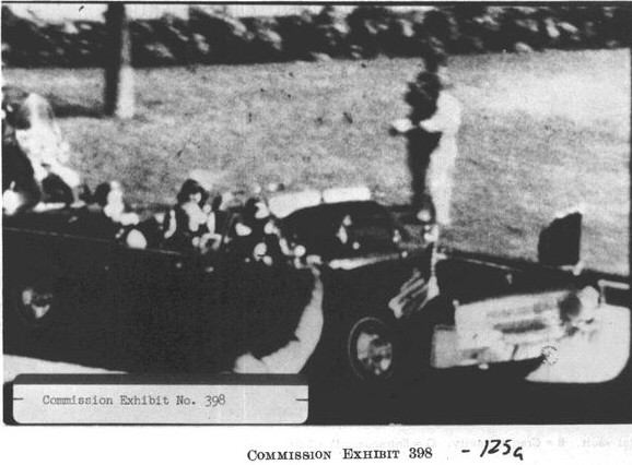 A frame from Zapruder's famous eyewitness film from the Warren Commission report