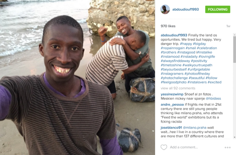 A photo shared by Abdou Diouf showing him having arrived safely on land in Spain.