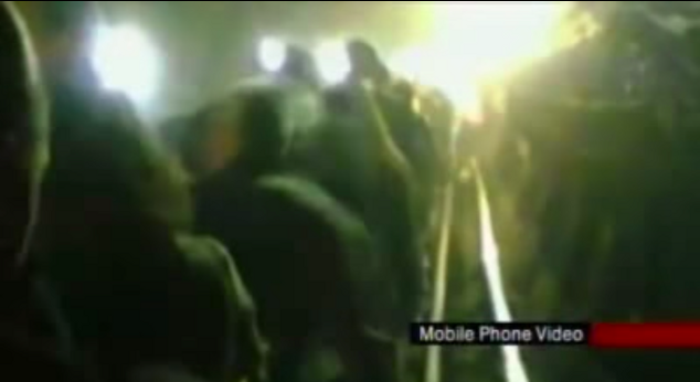 A screengrab taken from an eyewitness video used in a BBC News report on 7th July 2005. The person who captured the video was not credited on screen