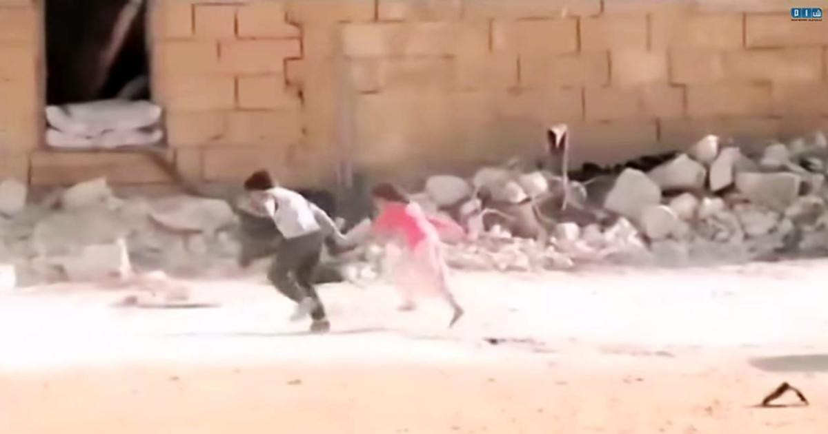 """Screenshot of the """"Syria Hero Boy"""" video purporting to show children under sniper fire in Syria but was actually filmed by Norwegian filmmakers in Malta with the intention of it being presented as real. Screenshot: SHAMSNN"""
