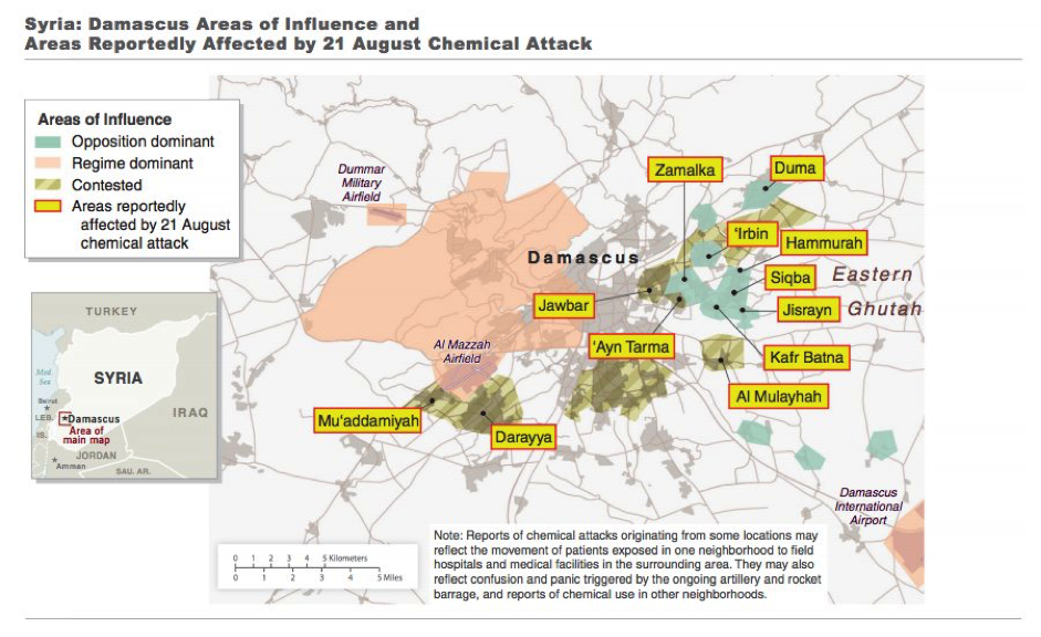 The US Government's map of the August 21st Sarin attacks