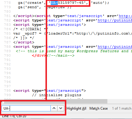Finding a Google Analytics ID in a web page's source code