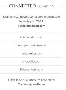 Whoisology showing some of the websites connected to an e-mail address.