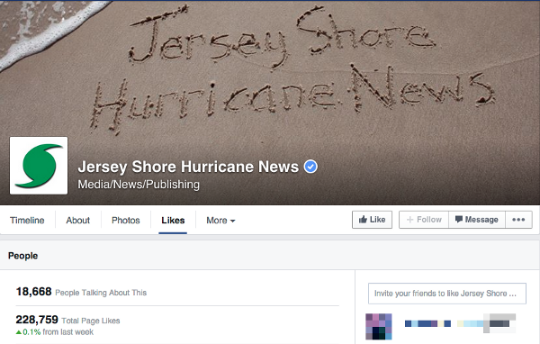 Jersey Shore Hurricane News has an impressive following for a one-person newsroom (Screenshot from JSHN on Facebook