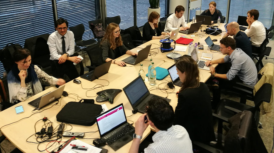 The Full Fact team working at the ITV office.