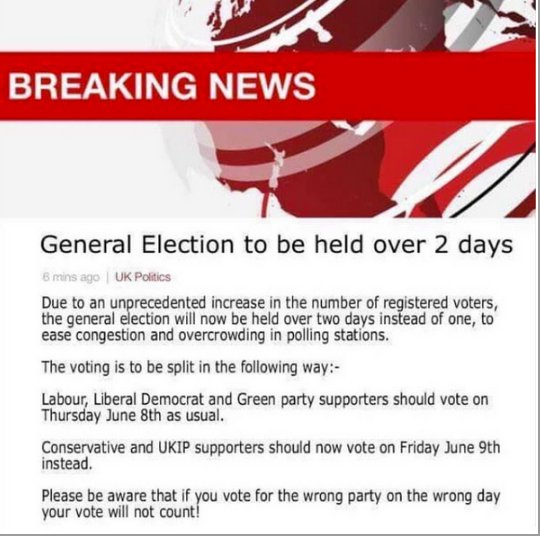 An altered screengrab attempted to encourage Conservative and UKIP supporters to vote on Friday June 9, after polls would have closed