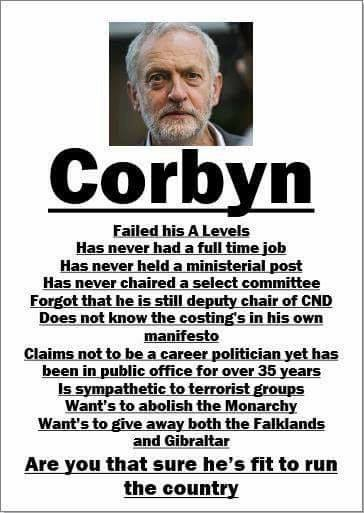 "Image taken by a post of the Facebook page ""Anti-EU pro British"" of a wanted-style poster of Jeremy Corbyn."