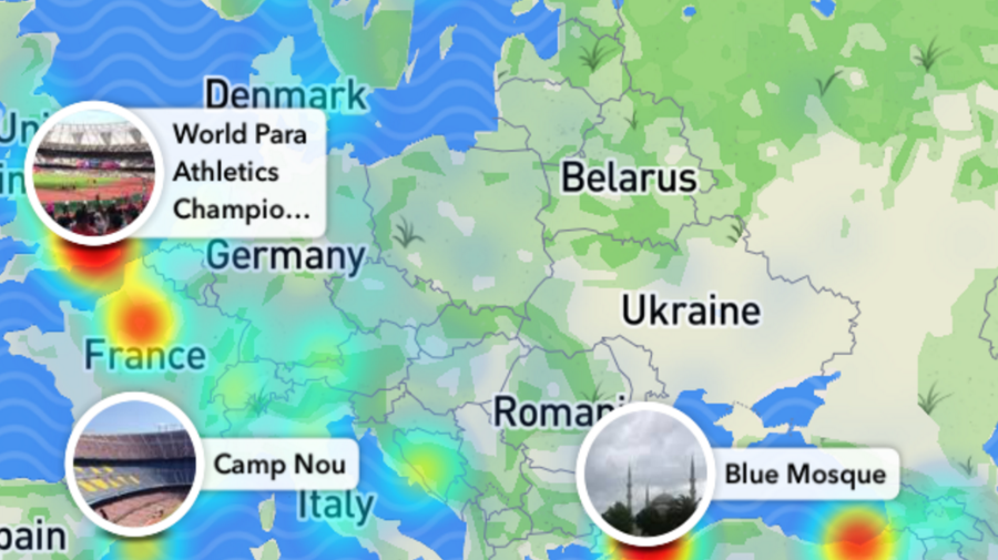 A recent Snaptchat map, that has been cropped and enlarged from its original smartphone size.