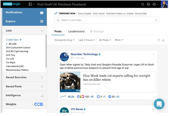 Screenshot of CrowdTangle
