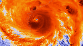 An infared image of Hurrican Harvey approaching the Texas coast on August 25. Source: NOAA Enviornmental Visualization Laboratory
