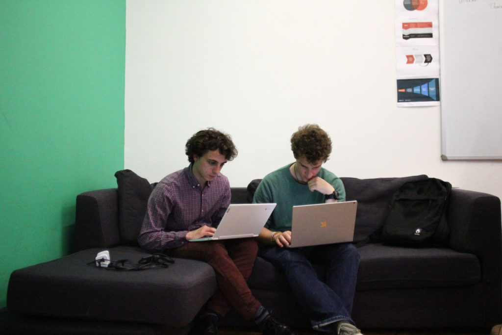University students during verification training at First Draft. Giacomo Antonelli, 25 (left), said journalism students should have verification training. (Image: First Draft)