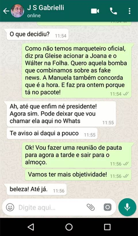 Screenshot of a fake conversation on Whatsapp