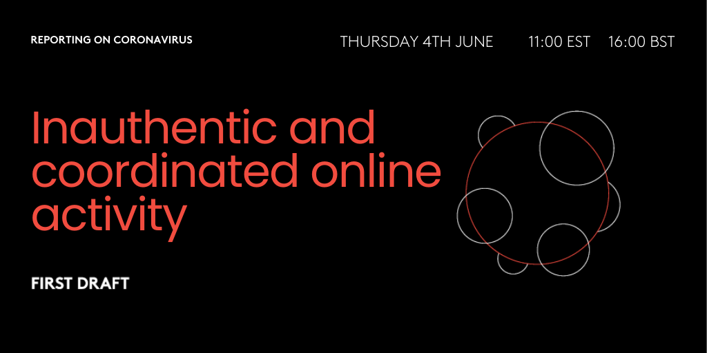 Graphic of Inauthentic and coordinated online activity webinar