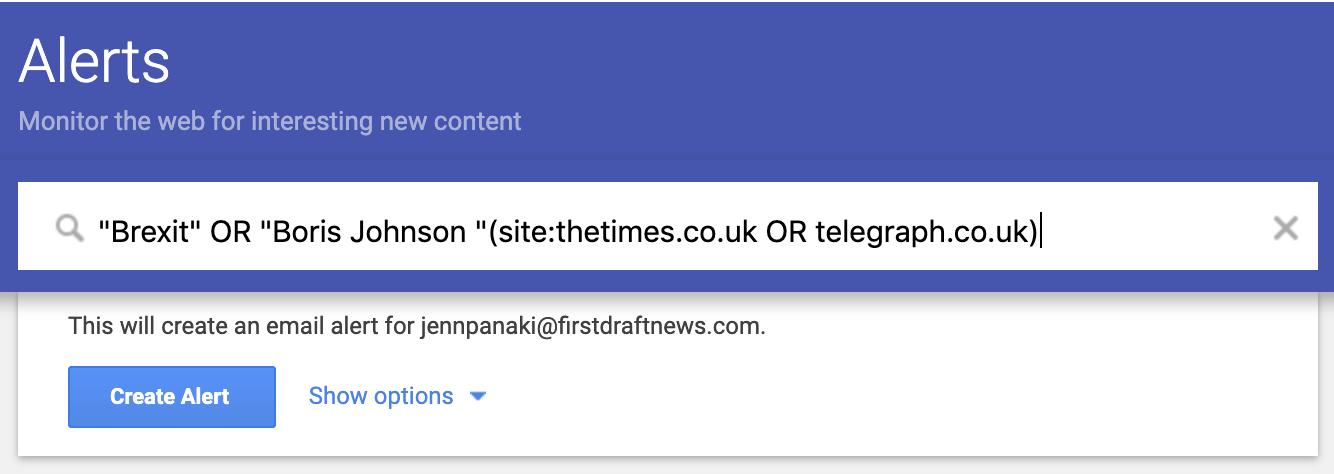 Screenshot of Google alert