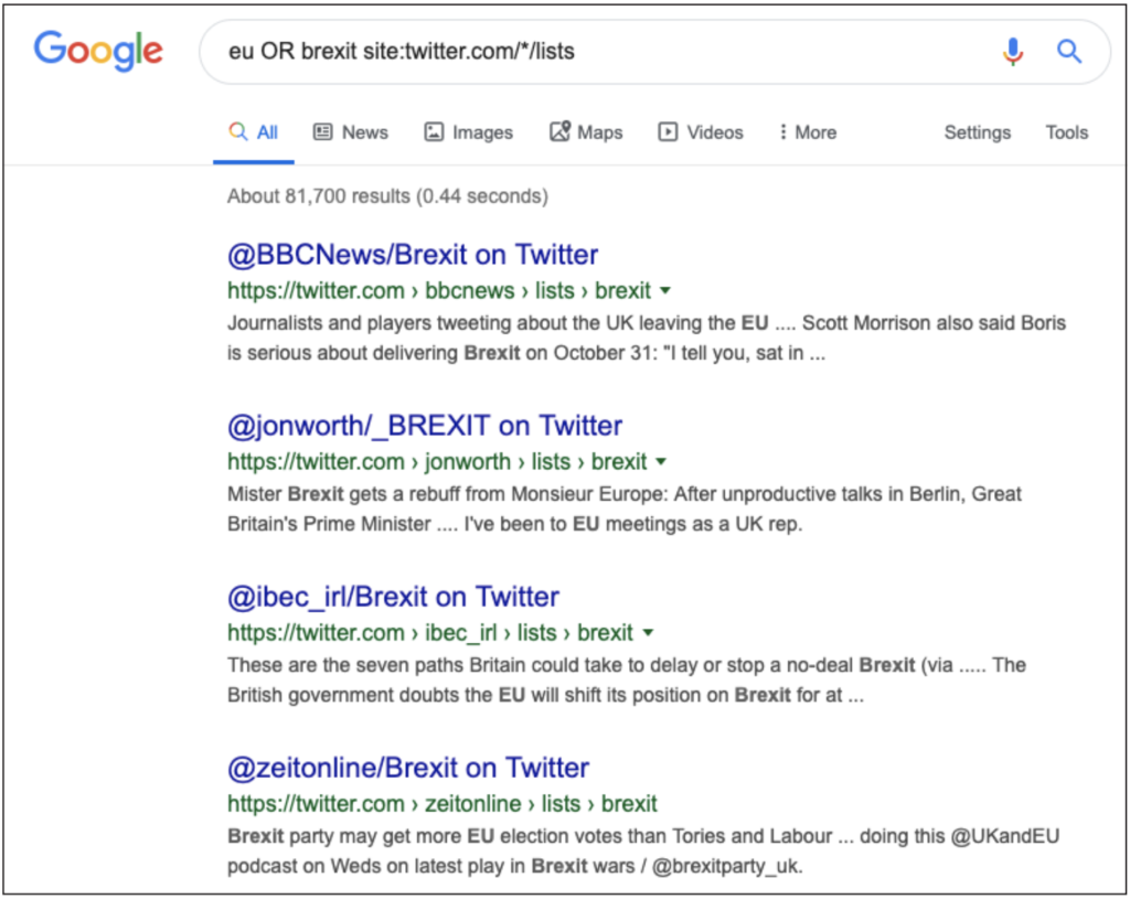 Screenshot of search string in Google search bar