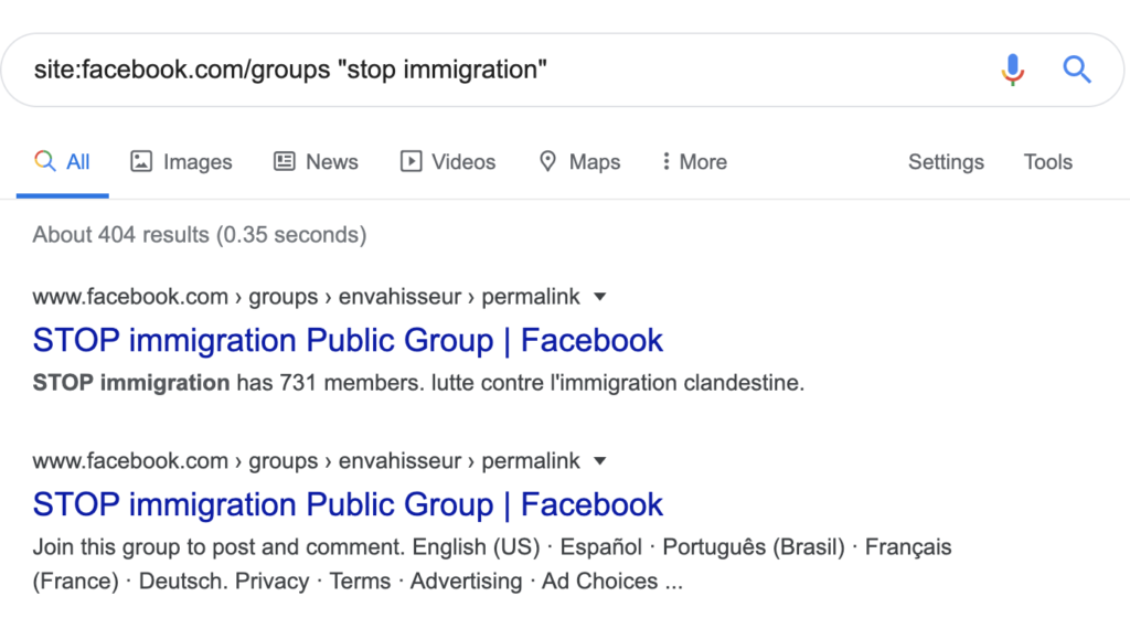 Screenshot of Google search on groups