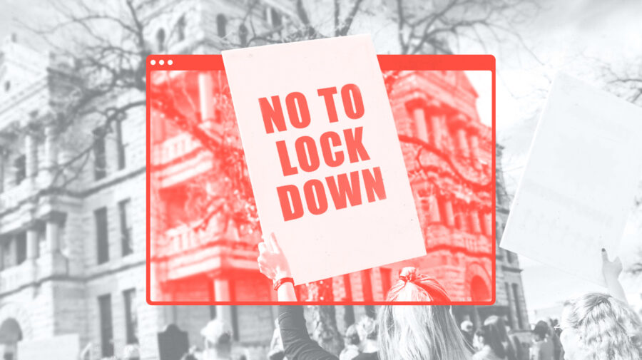 A 'No To Lockdown' protest sign is help through a superimposed image of a browser window.