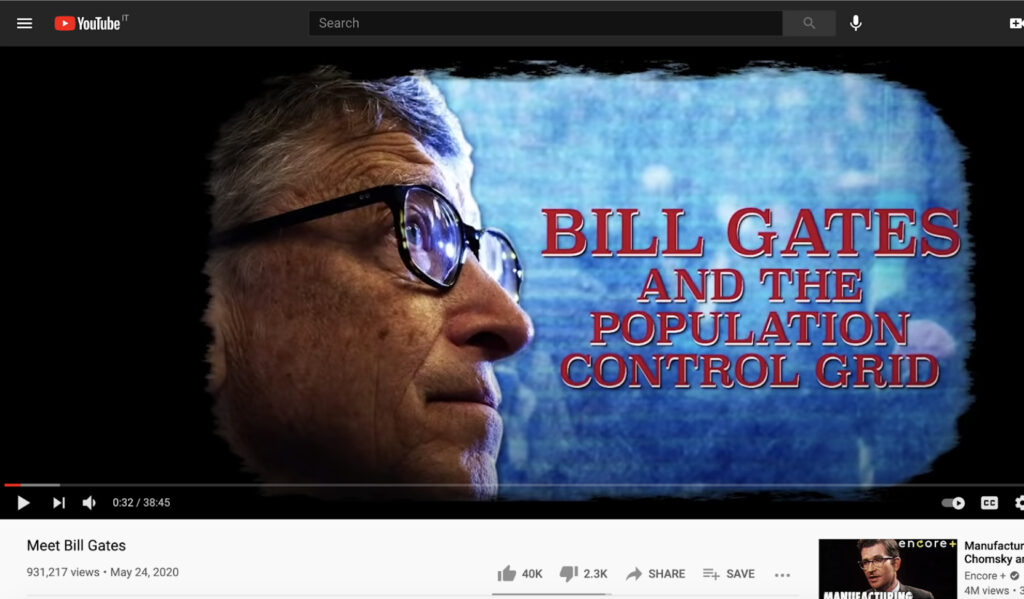 A YouTube URL referenced by 4chan users as part of the infertility conspiracy theory since April 2020. The video fed into a broader anti-Gates conspiracy theory, totalling almost a million views as of March 1, 2021. Credit: Screenshot by author