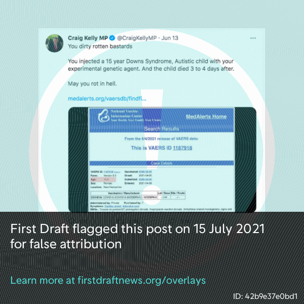 Australian MP Craig Kelly falsely attributed a VAERS report to an irrelevant website