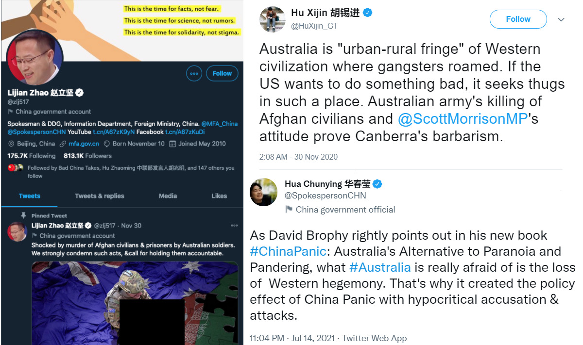A collage of screenshots showing tweets from the Chinese government and state media targeting Australia