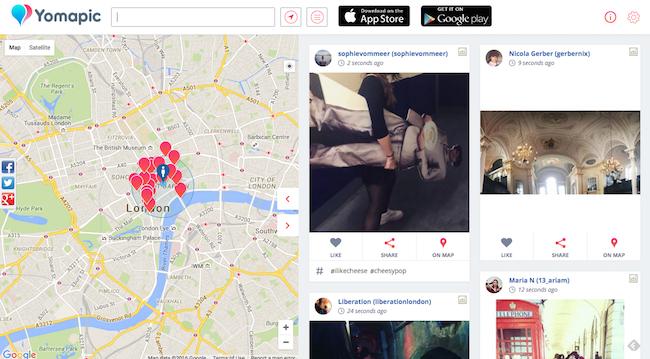 Capture d'écran de Yomapic affichant des publications Instagram géolocalisées autour de Covent Garden.