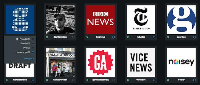 Organisation de comptes Instagram en groupes au moyen d'Iconosquare.