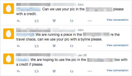 Captures d'écran de Twitter, avec noms d'utilisateurs floutés.