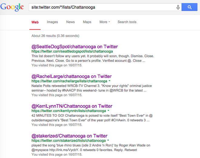 البحث على محرك البحث جوجل عن قوائم تويتر التي أُنشئت من قبل أشخاص آخرين