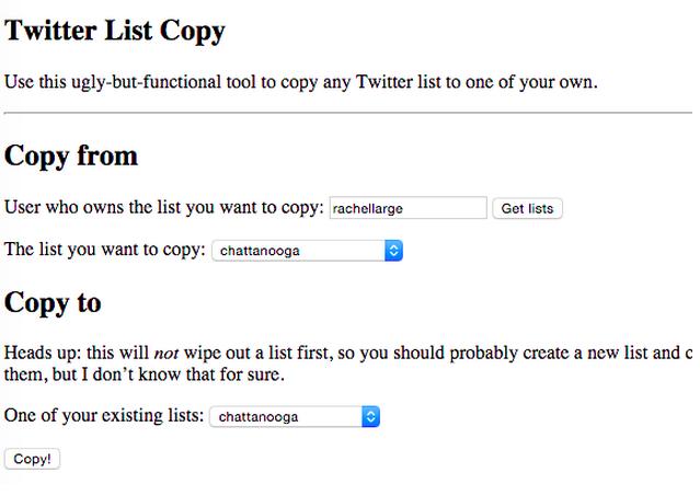 صورة بالإنجليزية لأداة تويتر لنسخ القائمة من تطوير شركة نوا ليبمان